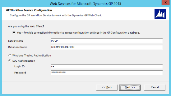 Web Services for Microsoft Dynamics GP 2015 - GP Workflow Service Configuration
