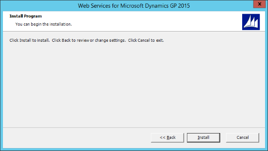 Web Services for Microsoft Dynamics GP 2015 - Install Program
