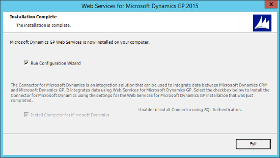 Web Services for Microsoft Dynamics GP 2015 - Installation Complete