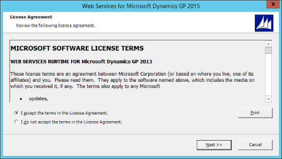 Web Services for Microsoft Dynamics GP 2015 - License Agreement