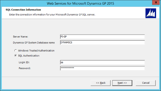 Web Services for Microsoft Dynamics GP 2015 - SQL Connection Information