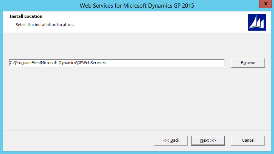 Web Services for Microsoft Dynamics GP 2015 - Install Location