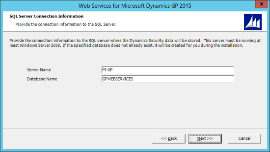 Web Services for Microsoft Dynamics GP 2015 - SQL Server Connection Information