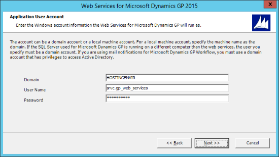Web Services for Microsoft Dynamics GP 2015 - Application User Account