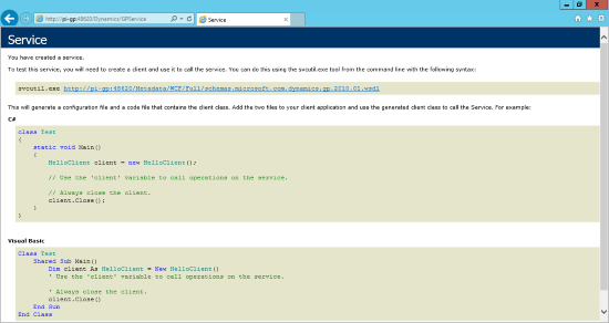 Internet Explorer - http://{server}:48620/Dynamics/GPService