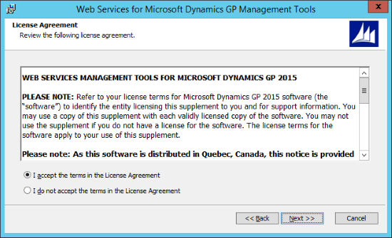 Web Services for Microsoft Dynamics GP GP Management Tools -  - License Agreement