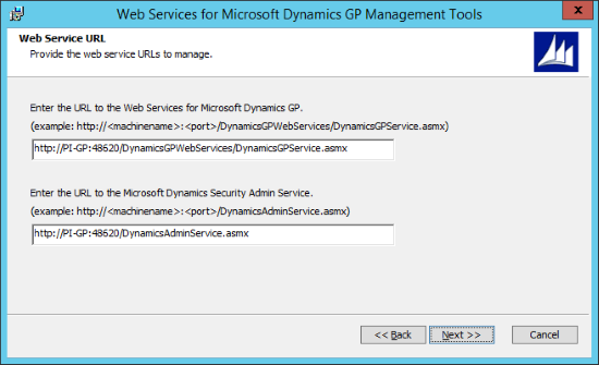 Web Services for Microsoft Dynamics GP GP Management Tools - Web Service URL