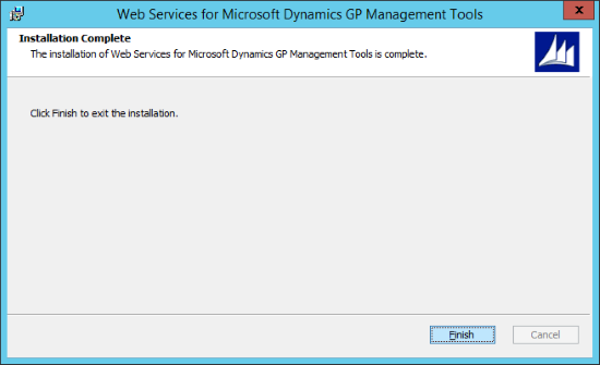 Web Services for Microsoft Dynamics GP GP Management Tools - Installation Complete