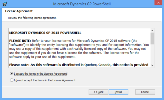 Microsoft Dynamics GP PowerShell - License Agreement
