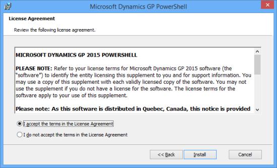 Microsoft Dynamics GP PowerShell - License Agreement