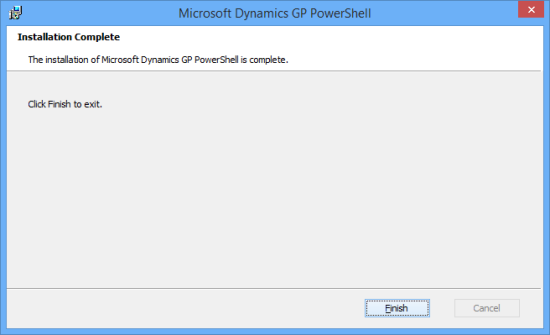 Microsoft Dynamics GP PowerShell - Installation Complete