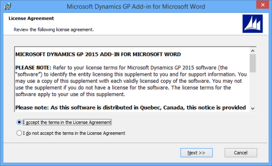 Microsoft Dynamics GP Add-in for Microsoft Word - License Agreement