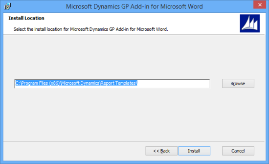 Microsoft Dynamics GP Add-in for Microsoft Word - Install Location