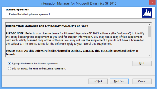 Integration Manager for Microsoft Dynamics GP 2015 - License Agreement