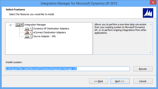 Integration Manager for Microsoft Dynamics GP 2015 - Select Features