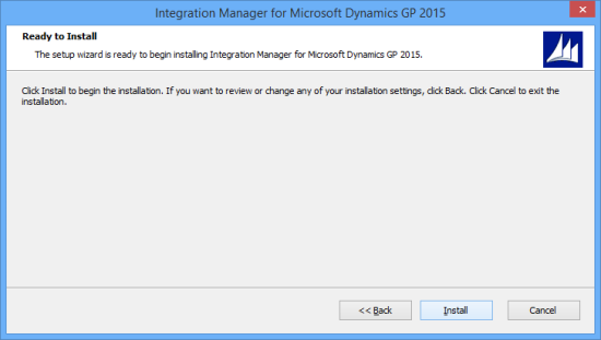 Integration Manager for Microsoft Dynamics GP 2015 - Ready to Install