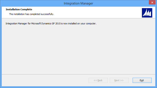 Integration Manager for Microsoft Dynamics GP 2015 - Installation Compete