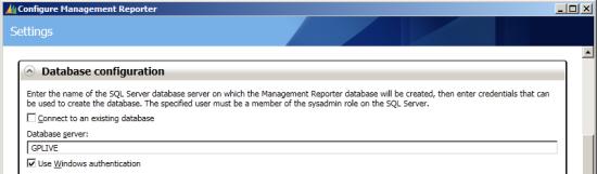 Configure Management Reporter - Database Configuration