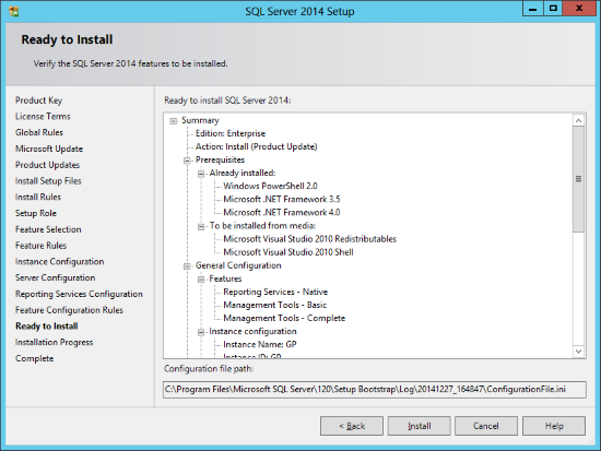 SQL Server 2014 Setup - Ready to Install