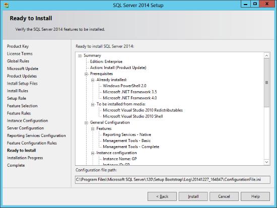 SQL Server 2014 Setup - Ready to Install