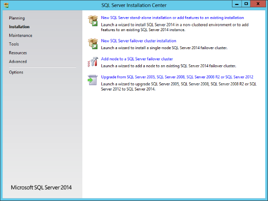 SQL Server Installation Center