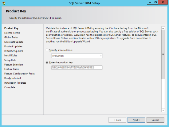 SQL Server 2014 Setup - Product Key