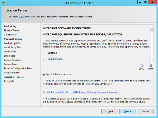 SQL Server 2014 Setup - License Terms