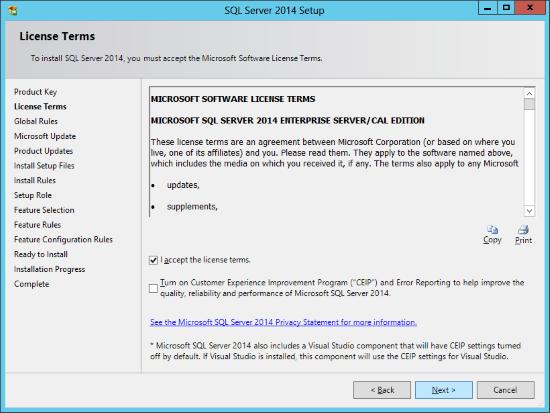 SQL Server 2014 Setup - License Terms