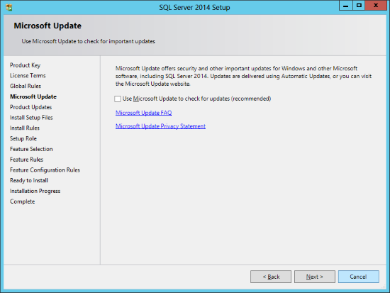 SQL Server 2014 Setup - Microsoft Update