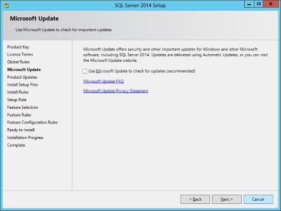 SQL Server 2014 Setup - Microsoft Update