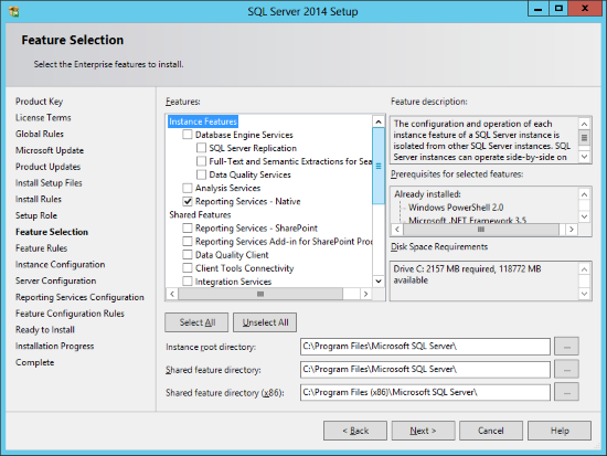 SQL Server 2014 Setup - Feature Selection