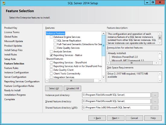 SQL Server 2014 Setup - Feature Selection