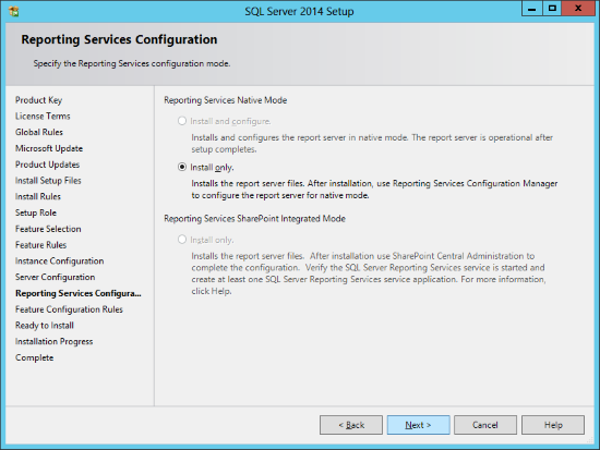 SQL Server 2014 Setup - Reporting Services Configuration