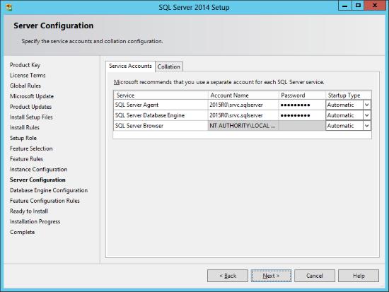 SQL Server 2014 Setup - Server Configuration - Service Accounts