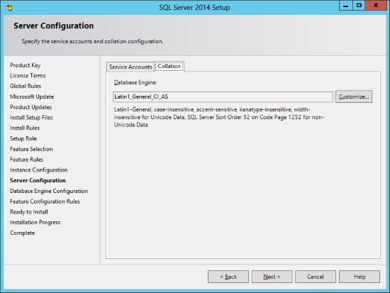 SQL Server 2014 Setup - Server Configuration - Collation