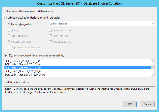 Customize the SQL Server 2014 Database Engine Collation