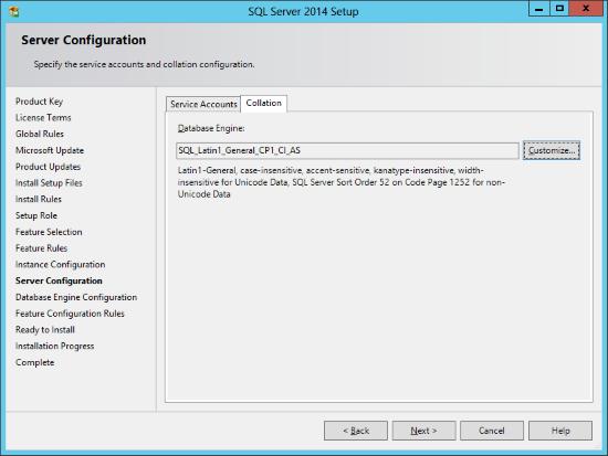 SQL Server 2014 Setup - Server Configuration