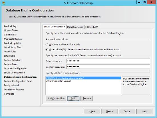 SQL Server 2014 Setup - Database Engine Configuration - Server Configuration
