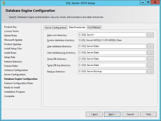 SQL Server 2014 Setup - Database Engine Configuration - Data Directories