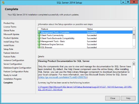 SQL Server 2014 Setup - Complete