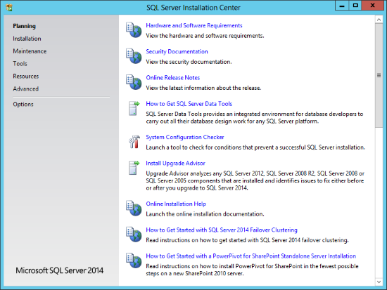 SQL Server Installation Center - Planning