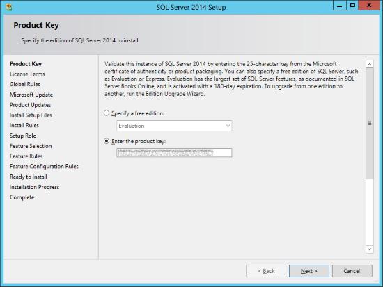 SQL Server 2014 Setup - Product Key