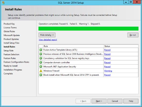 SQL Server 2014 Setup - Install Rules