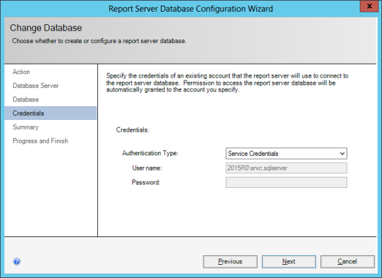 Reporting Services Configuration Manager - Change Database - Credentials