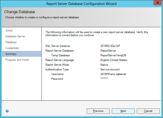 Reporting Services Configuration Manager - Change Database - Summary