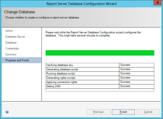 Reporting Services Configuration Manager - Change Database - Progress and Finish