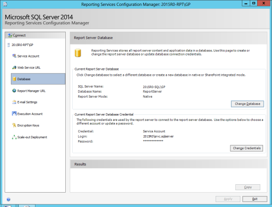 Reporting Services Configuration Manager - Change Database - Report Server Database