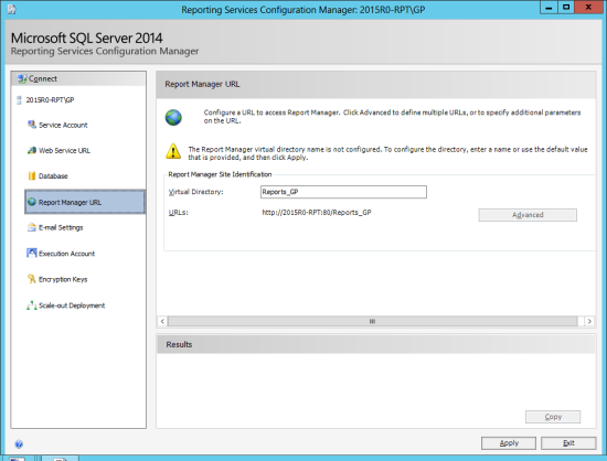 Reporting Services Configuration Manager - Change Database - Report Server URL