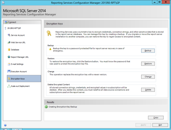 Reporting Services Configuration Manager - Change Database -  Encryption Keys
