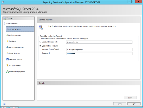 Reporting Services Configuration Manager - Service Account